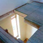 Fußboden öffnen mit Wechslung der Balken und heraus nehmen der Gipsdecke